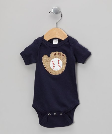 Navy Baseball Glove Bodysuit - Infant