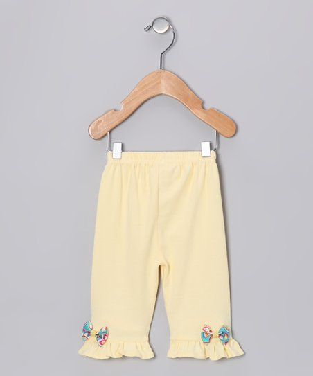 Yellow & Blue Bow Pants - Infant, Toddler & Girls