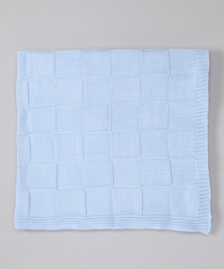Blue Checker Knit Receiving Blanket