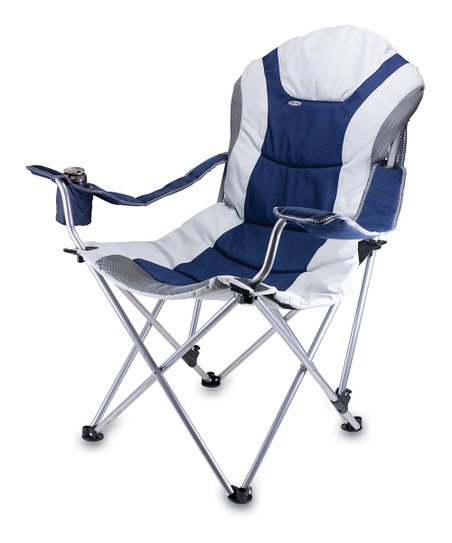 Navy & Gray Reclining Camp Chair