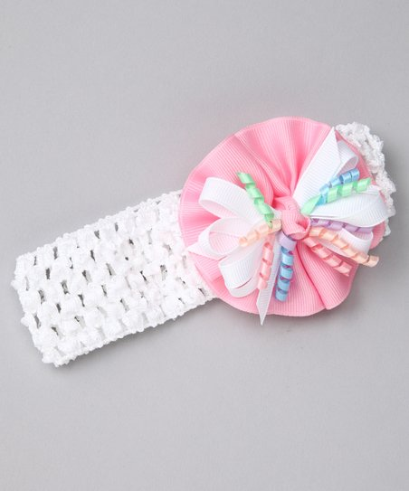 Pink & White Circle Bow Headband