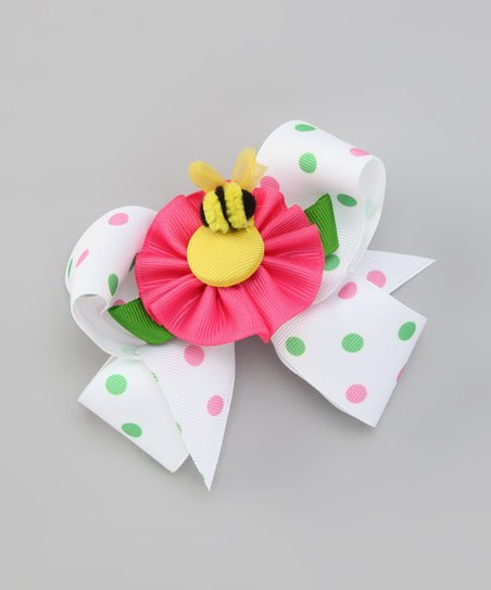 White Polka Dot Bow & Pink Bee Clip Set