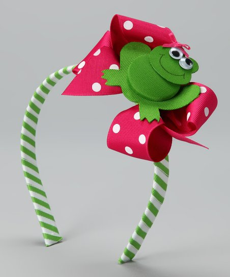 Picture Perfect Pink & Green Frilly Frog Headband Set