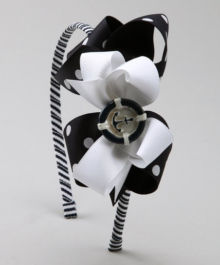 Navy Anchor Bow & Headband