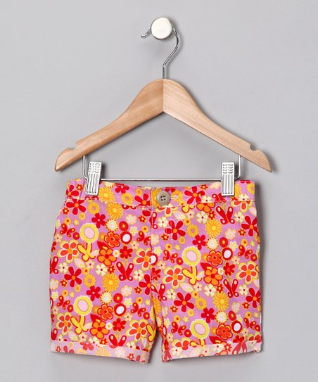 Red Fables Floral Shorts - Infant, Toddler & Girls