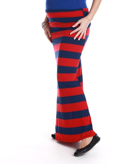 Red & Navy Stripe Maternity Maxi Skirt - Women