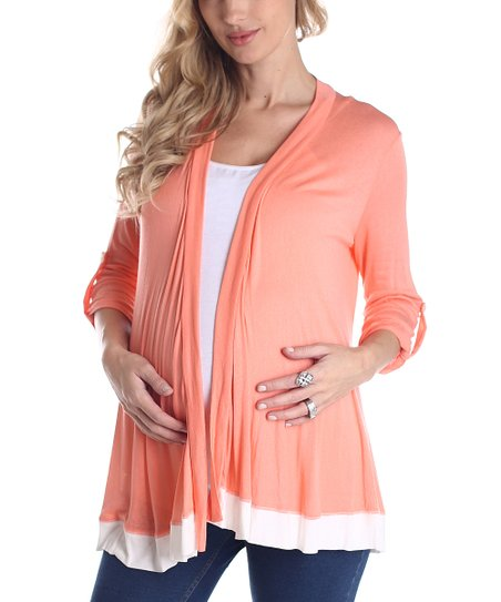 PinkBlush Orange &amp; White Color Block Maternity Open Cardigan