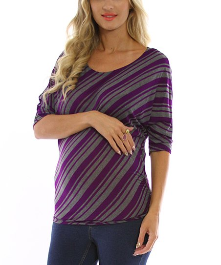 Purple & Gray Stripe Maternity Top