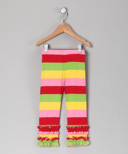 Pink & Red Stripe Leggings - Girls