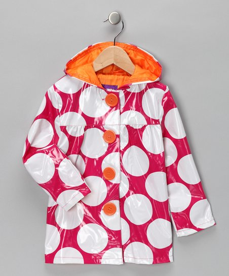 Pink Platinum Fuchsia Polka Dot Raincoat - Toddler