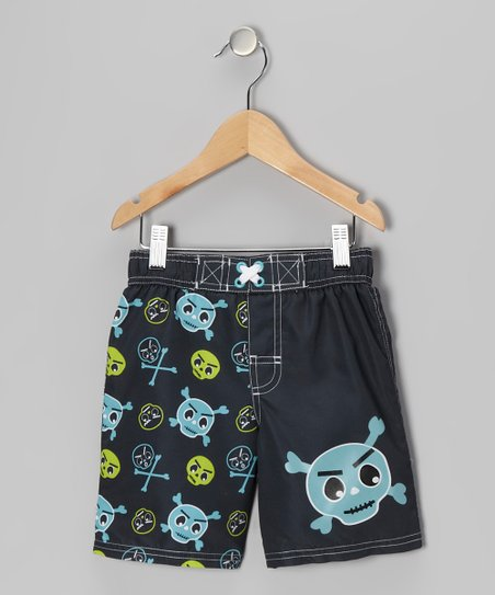 Black Skull Swim Trunks - Infant