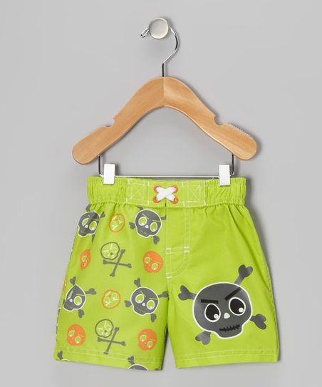 Lime Skull Swim Trunks - Infant
