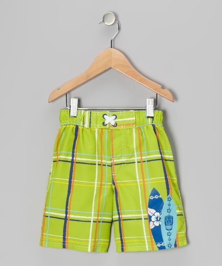 Lime Plaid Swim Trunks - Infant