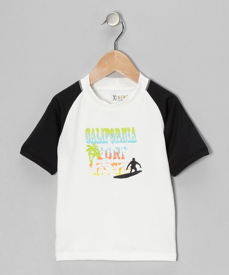 White 'California Surf Legend' Rashguard - Boys
