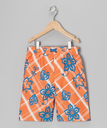 Orange Plaid Hibiscus Swim Trunks - Boys
