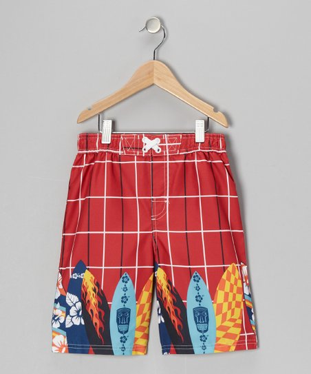 Red Plaid Surfboard Swim Trunks - Boys