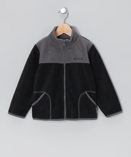 Black & Gray Fleece Zip-Up Jacket - Infant & Boys