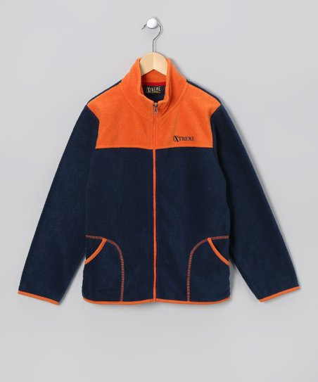 Navy & Orange Zip-Up Jacket - Infant & Boys