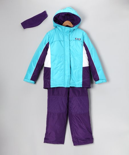Aqua & Purple Snow Jacket Set - Infant