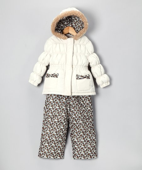 Cream & Cheetah Jacket & Bib Pants - Infant & Girls