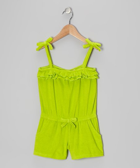 Lime Ruffle Romper Cover-Up - Girls