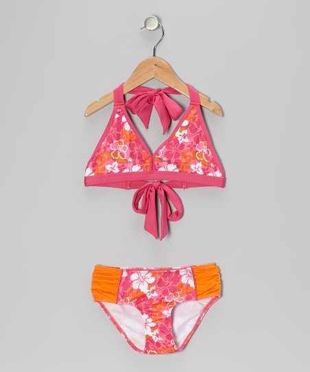 Fuchsia Tropical Retro Bikini - Girls