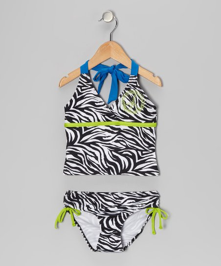 Back Zebra Tankini - Girls
