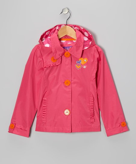 Fuchsia Heart Ruffle Jacket - Toddler &amp; Girls
