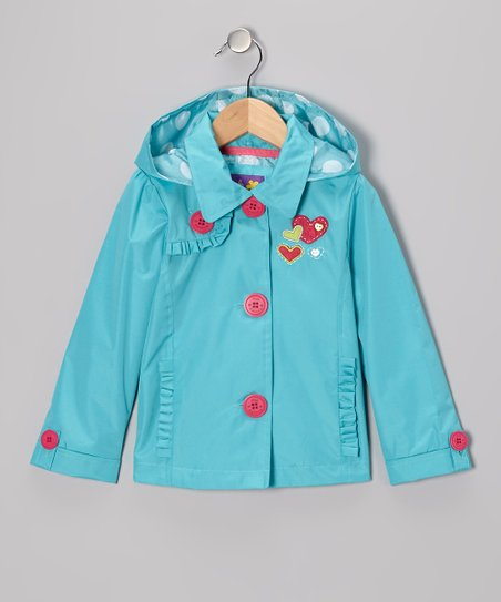 Turquoise Heart Ruffle Jacket - Toddler
