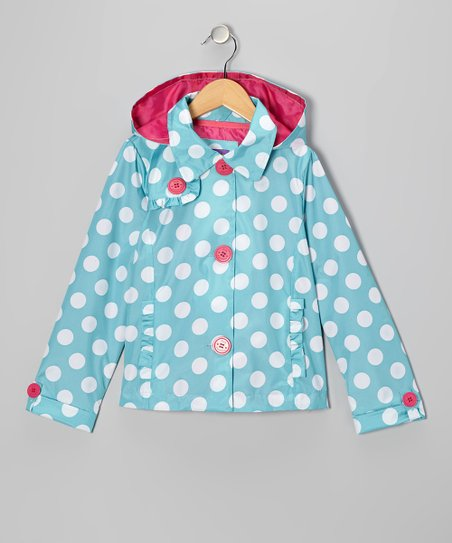 Turquoise Polka Dot Jacket - Toddler & Girls