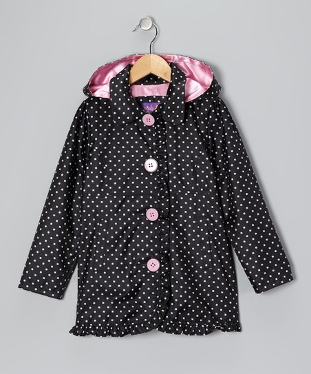 Black Polka Dot Ruffle Jacket - Toddler & Girls