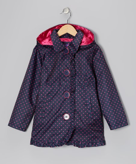 Navy Polka Dot Ruffle Jacket - Toddler & Girls