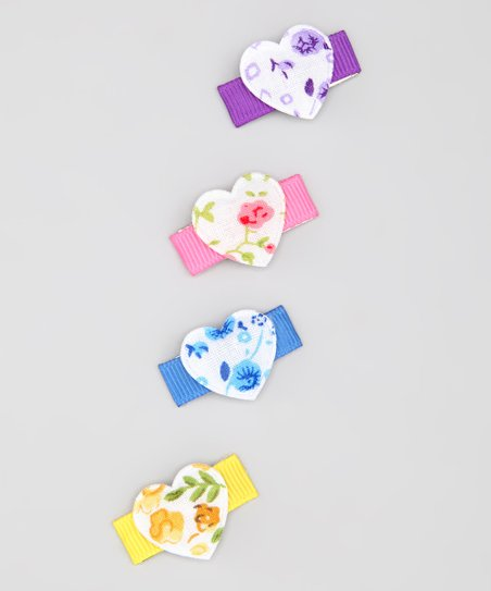 Rainbow Rose Heart Clip Set