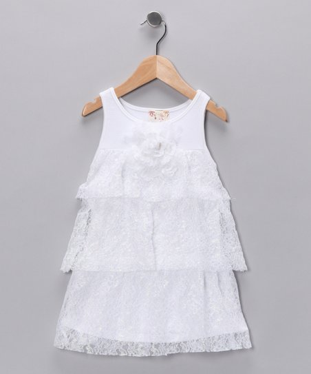 White Lace Tiered Ruffle Dress - Toddler & Girls
