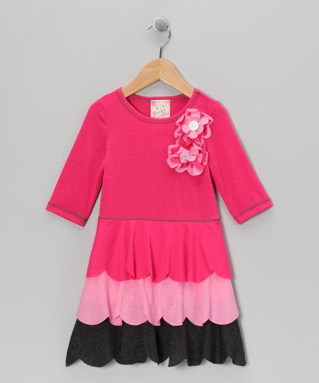 Fuchsia Scallop Ruffle Dress - Toddler