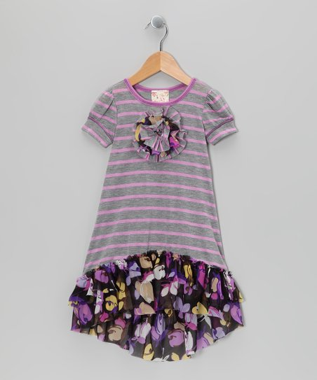 Gray &amp; Violet Daisy Stripe Hi-Low Dress - Toddler &amp; Girls