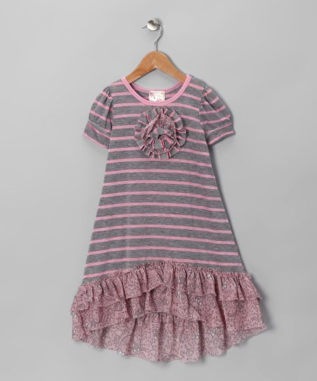 Pink &amp; Gray Stripe Hi-Low Dress - Toddler &amp; Girls