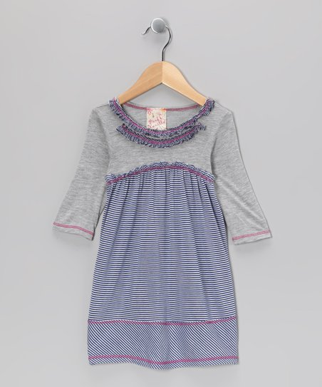 Blue &amp; Gray Stripe Dress - toddler &amp; Girls