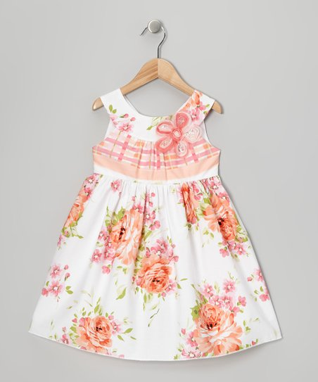 Peach Rose A-Line Dress - Toddler