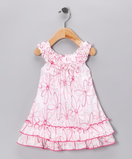 White & Fuchsia Floral Yoke Dress - Infant