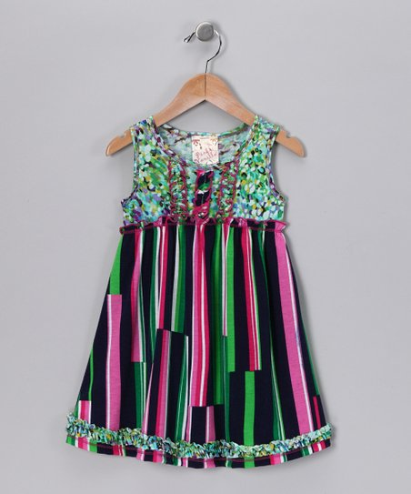 Green & Pink Ruffle Babydoll Dress - Toddler