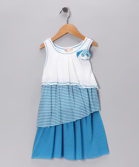 Blue Flower Color Block Dress - Girls