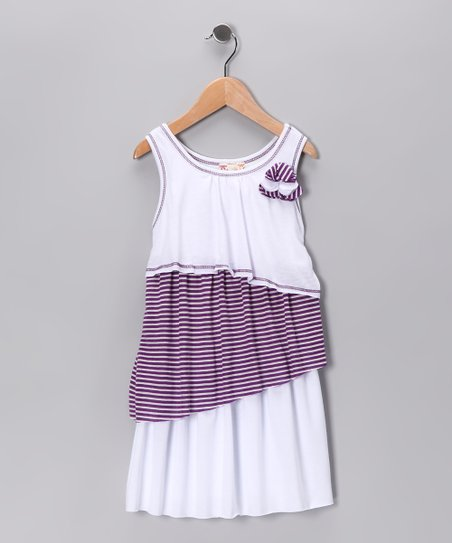 Purple & White Color Block Dress - Girls