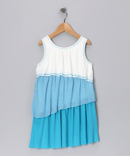 Blue & White Color Block Dress - Girls