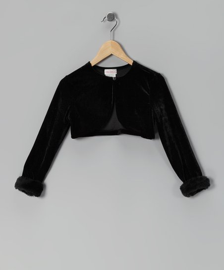Black Fur-Cuffed Velour Bolero - Girls