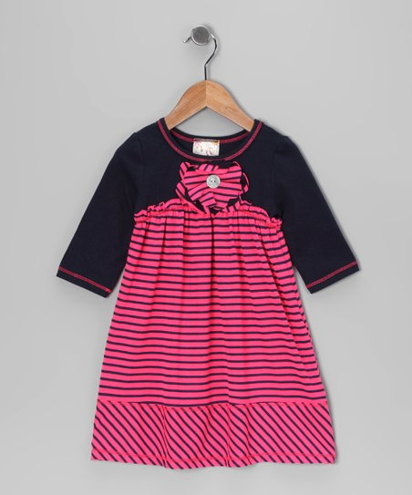 Hot Pink & Navy Stripe Babydoll Dress - Toddler & Girls