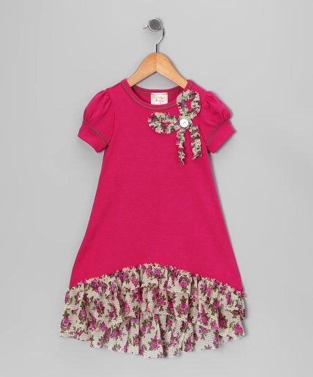 Fuchsia Ruffle Bow Hi-Low Dress - Toddler & Girls