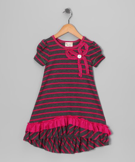 Charcoal & Fuchsia Ruffle Bow Hi-Low Dress - Toddler