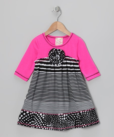 Neon Pink & Black Stripe Babydoll Dress - Toddler & Girls