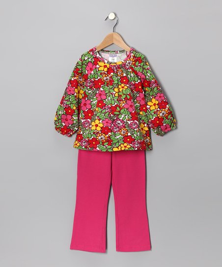 Fuchsia Floral Top & Pants - Toddler & Girls